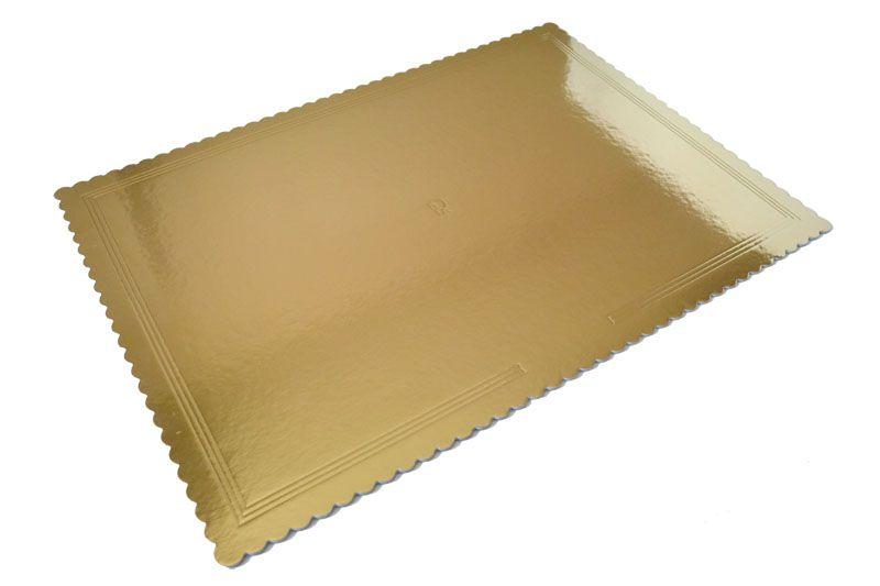 Platou auriu/negru dreptunghiular crestat din carton 20x30 cm 3CA23RET2030N_BND
