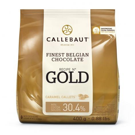 Ciocolata alba cu caramel 30.4% unt de cacao Gold 0.4kg Callebaut
