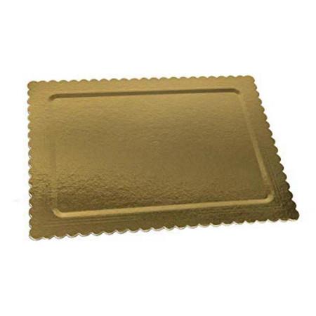 Platou auriu/negru dreptunghiular crestat din carton 15x30 cm 3CA23RET1530N_BND