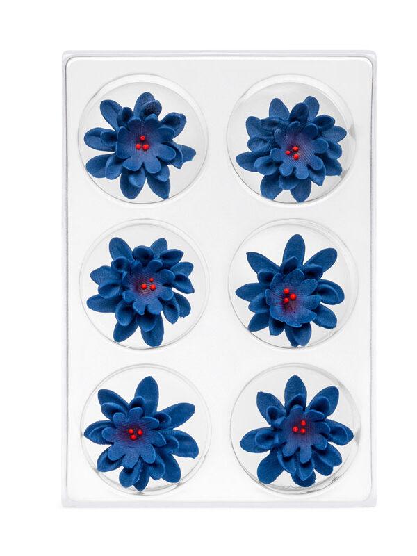 Floare de colt din zahar albastru inchis C-2021 PJT, 35 mm set 6 buc