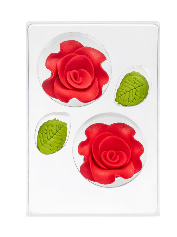 Trandafir din zahar mare rosu C-2102 PJT, set 2 flori 60 mm si 6 frunze