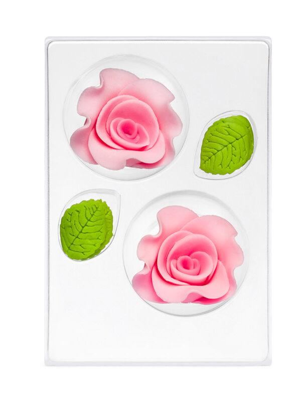 Trandafir din zahar mare roz C-2103 PJT, set 2 flori 60 mm si 6 frunze