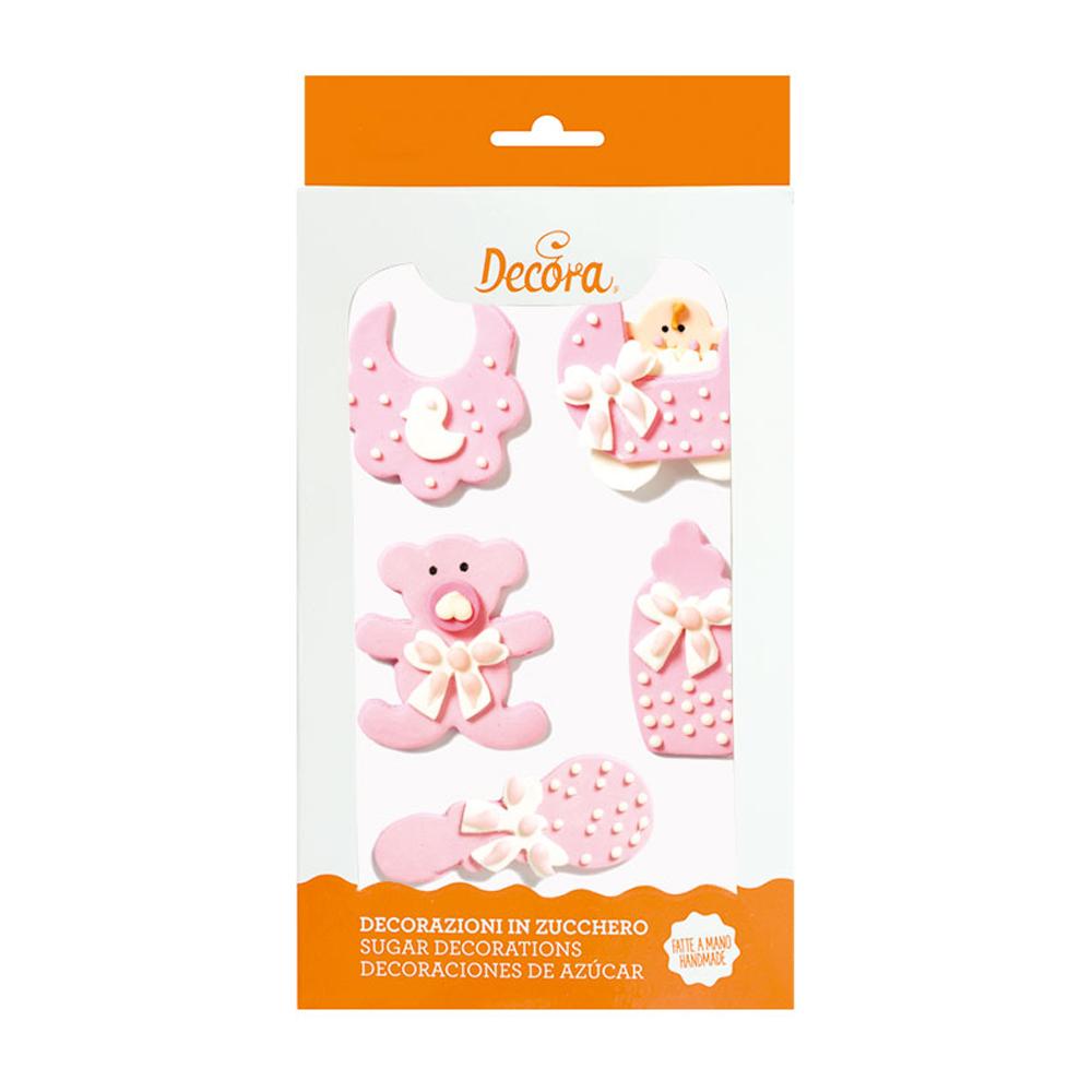 Decoratiuni zahar bebelus fetita roz 5 buc/set 0500320 DER
