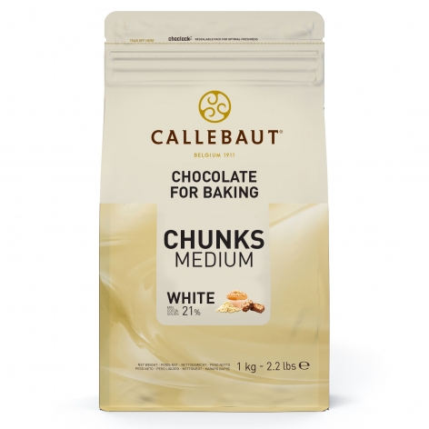 Bucati din ciocolata termostabila alba 23,6% cacao 2,5 kg CHW-CU-18V02NV-552 Callebaut