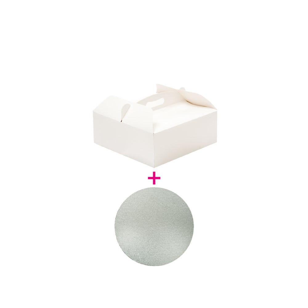 Set cutie tort 28,5x28,5x10h cm/suport tort Ø cm 28xH3 mm 340107 DER
