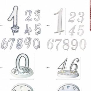 Cifre decorative ARGINTII NUMERE CU PIETRICELE 23014 MOD