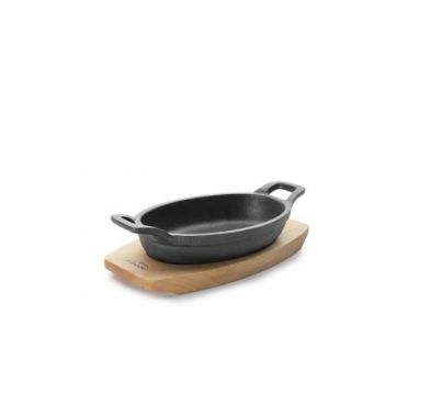 Cratita oval cu baza de lemn MAGMA  17,5x12,5 cm Vol. 300 ml 25882_LAC