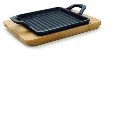 Tava mini patrata grill cu baza de lemn MAGMA 19,5x14x1,7 cm 25875_LAC