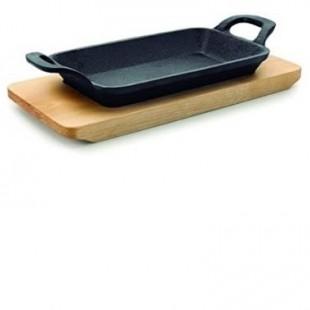 Tava mini dreptunghiulara grill cu baza de lemn MAGMA 22,5x10x2,5 cm 25874_LAC