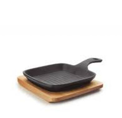 Tava mini grill cu baza de lemn MAGMA 21x13,5x2,5 cm 25876_LAC
