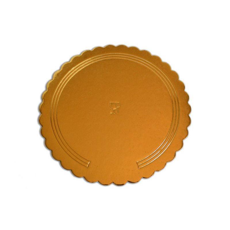 Platou auriu/negru crestat din carton  D 30 cm  3CA230030N_BND
