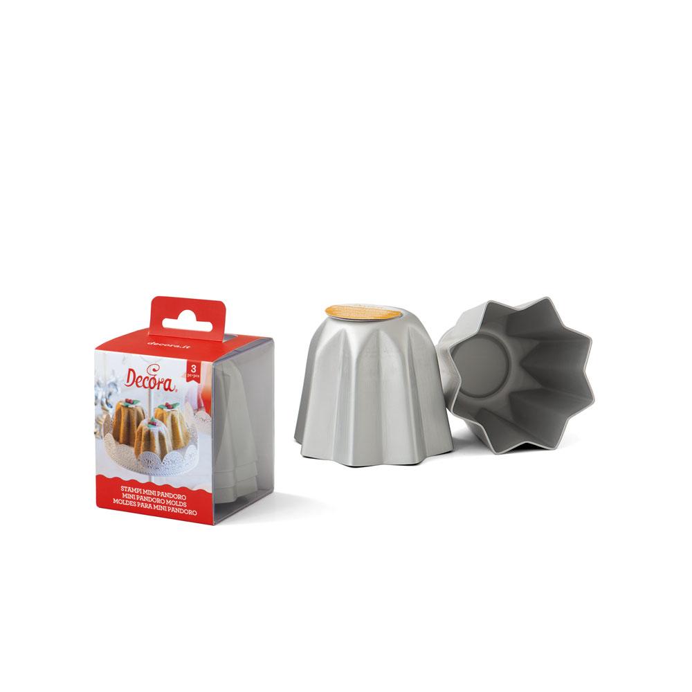 Forma de copt din aluminiu inoxidabil MINI-PANDORO 3 buc 0062684 DER